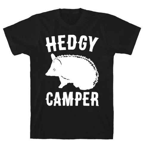 Hedgy Camper White Print Mens T-Shirt