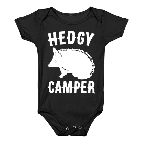 Hedgy Camper White Print Baby Onesy