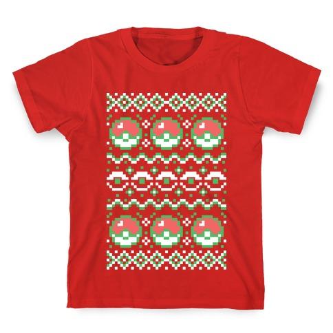 Pokéball Ugly Christmas Sweater Pattern Kids T-Shirt