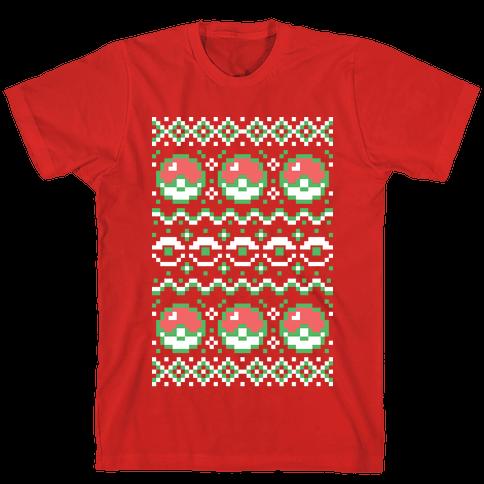 Pokéball Ugly Christmas Sweater Pattern Mens T-Shirt