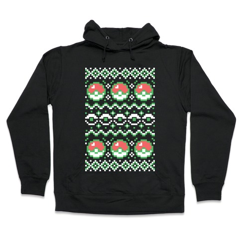 Ugly Christmas Sweater Pattern.Pokeball Ugly Christmas Sweater Pattern Hoodie Lookhuman