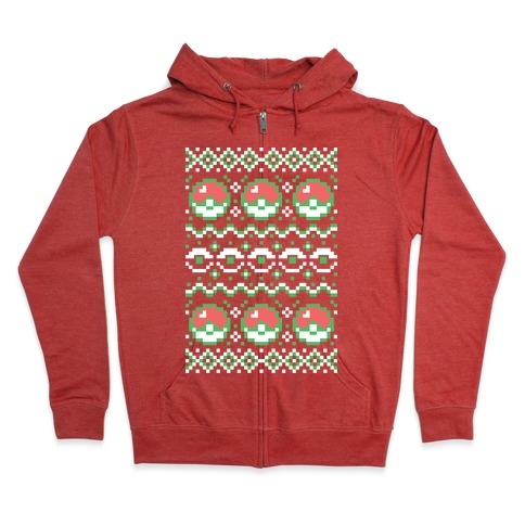 Pokéball Ugly Christmas Sweater Pattern Zip Hoodie