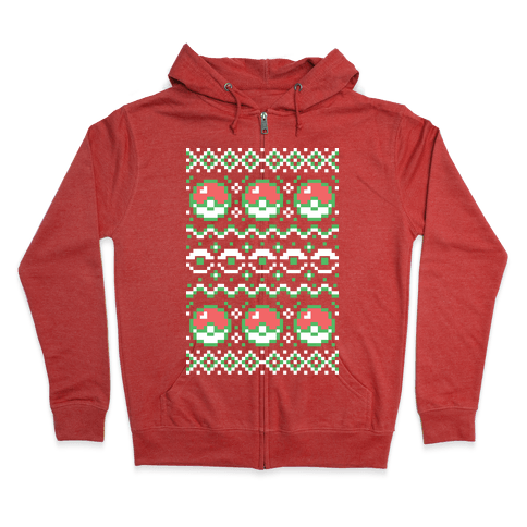 Pokéball Ugly Christmas Sweater Pattern Zip Hoodie