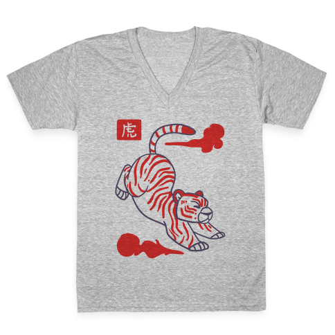 Tiger - Chinese Zodiac V-Neck Tee Shirt