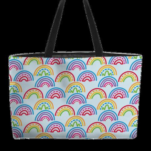 Rainbow Doodle Pattern Weekender Tote