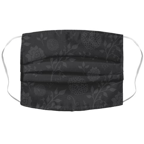 Charcoal Grey Subtle Floral Pattern Face Mask Cover