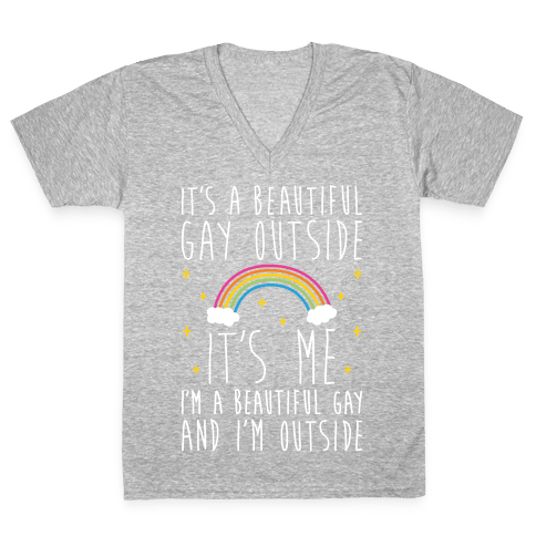 It's A Beautiful Gay Outside V-Neck Tee Shirt