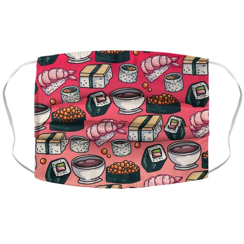 Red Sushi Pattern Accordion Face Mask