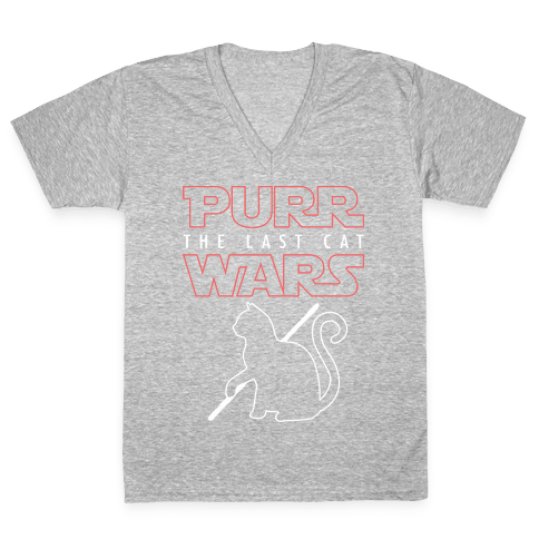 Purr Wars: The Last Cat V-Neck Tee Shirt