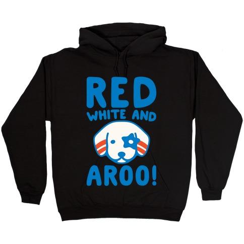 Red White and Aroo White Print Hooded Sweatshirt