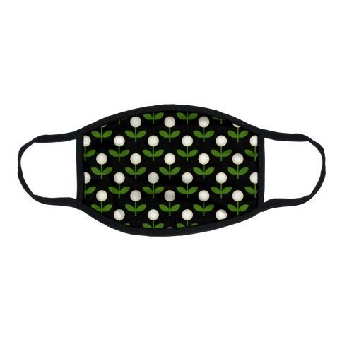 Dainty Retro Dandelions Black Pattern Flat Face Mask