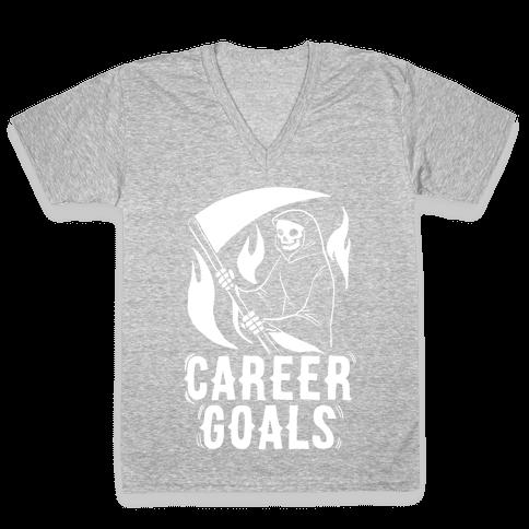 Career Goals - Grim Reaper V-Neck Tee Shirt