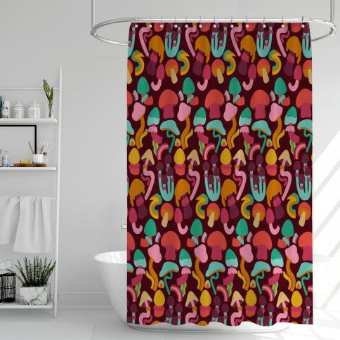 Retro Groovy Mushroom Pattern Shower Curtain
