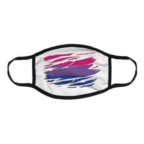 Ripped Shirt: Bi Pride Flat Face Mask