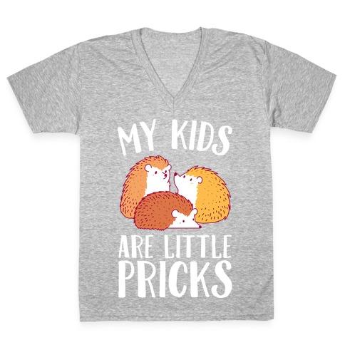 My Kids Are Little Pricks V-Neck Tee Shirt
