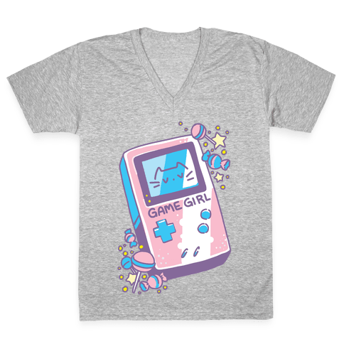 Game Girl - Trans Pride V-Neck Tee Shirt