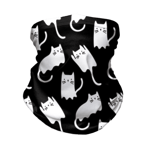 Ghost Cat Pattern Neck Gaiter