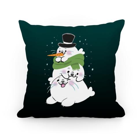 Seal Stack Snowman Pillow