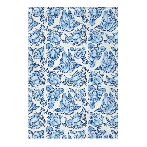 Floral Penis Pattern Blue Garden Flag