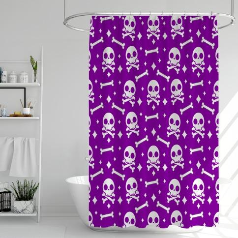 Cute Skull N' Bones Pattern (Purple) Shower Curtain
