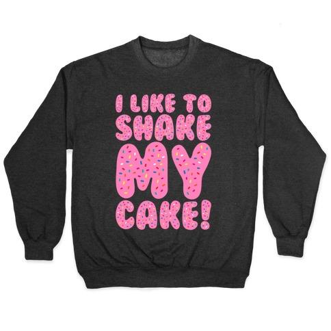 I Like To Shake My Cake White Print Pullover