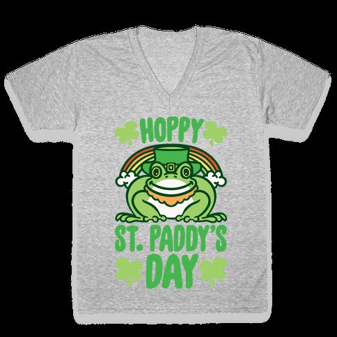 Hoppy St. Paddy's Day Frog V-Neck Tee Shirt
