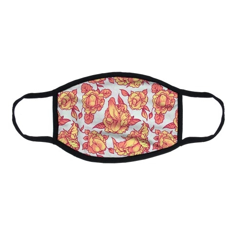 Floral Penis Pattern Orange Flat Face Mask