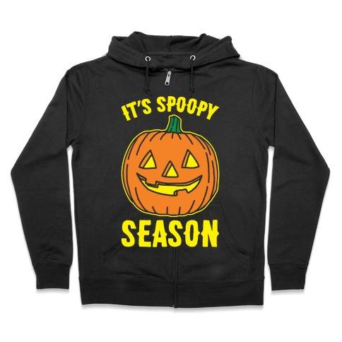 It's Spoopy Season White Print Zip Hoodie
