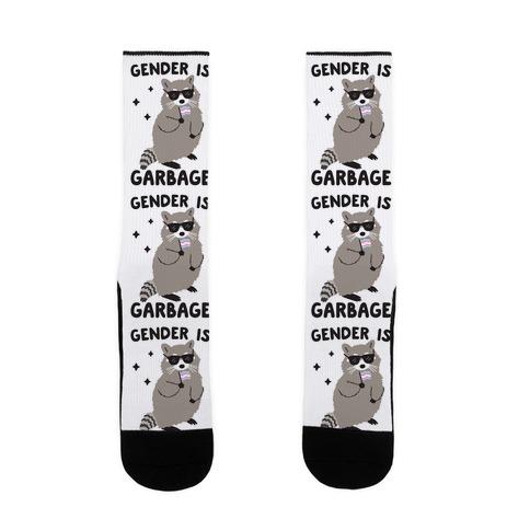 Gender Is Garbage Trans Raccoon Sock