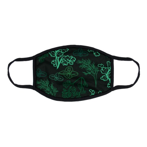 Green Herbs Pattern Flat Face Mask