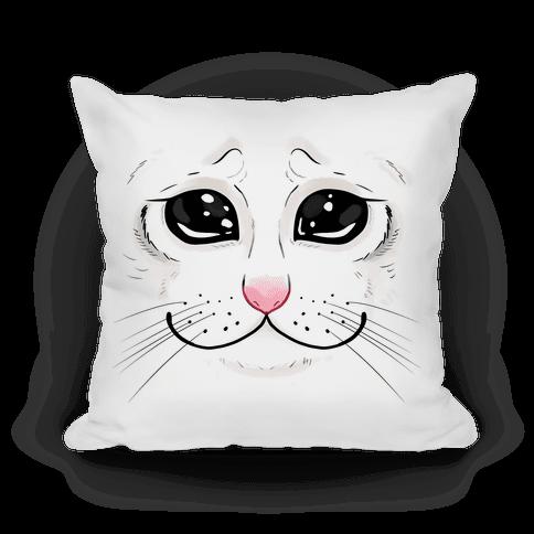 Crying Cat Face Pillow