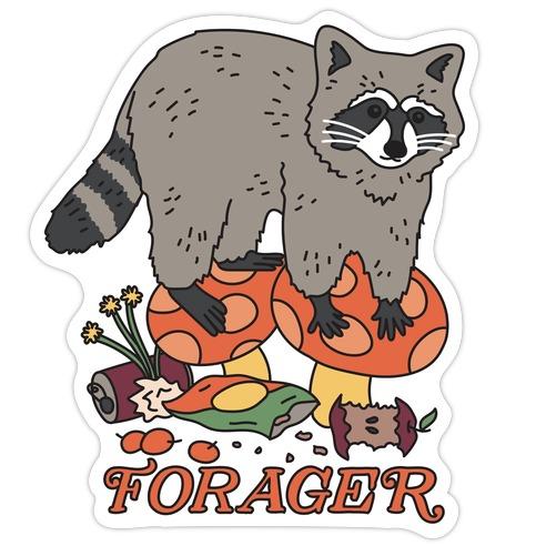 Forager Raccoon Die Cut Sticker