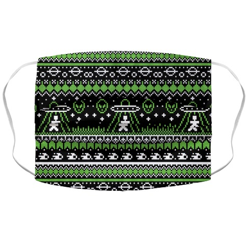 Ugly Alien Christmas Sweater Accordion Face Mask