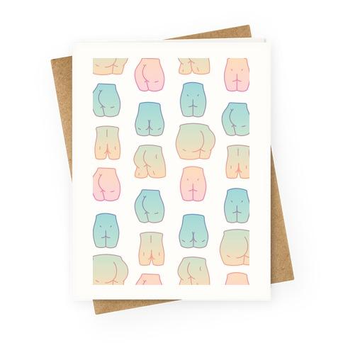 Kawaii Pastel Butt Pattern Greeting Card