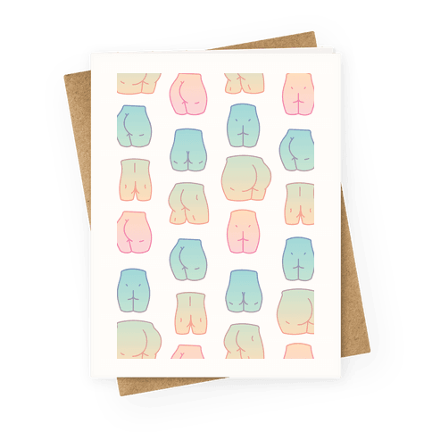 Kawaii Pastel Butt Pattern Greeting Card