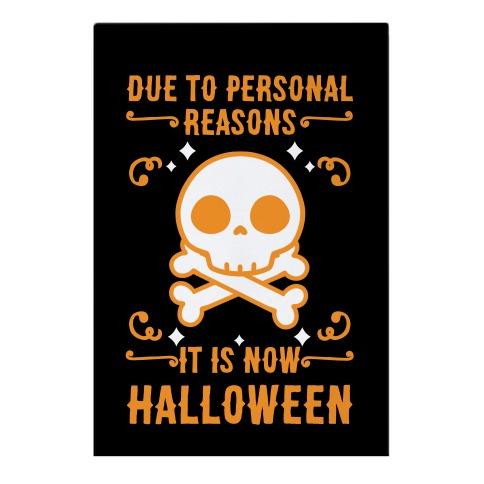 Due To Personal Reasons It Is Now Halloween Skull (Orange) Garden Flag