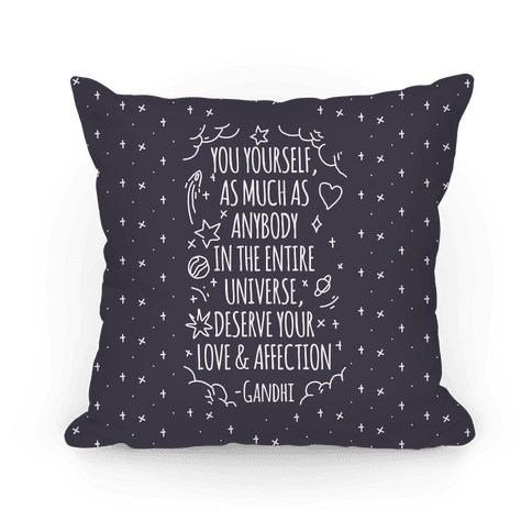 Love Yourself Gandhi Quote Pillow