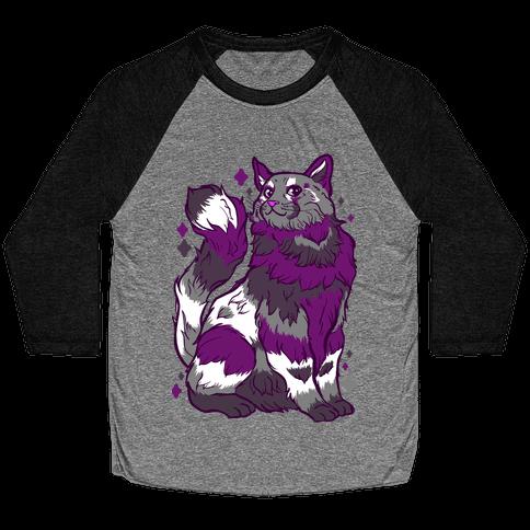 Asexual Pride Cat Baseball Tee