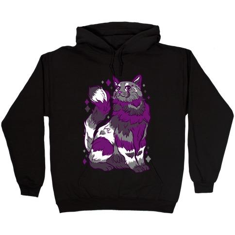 Asexual Pride Cat Hooded Sweatshirt