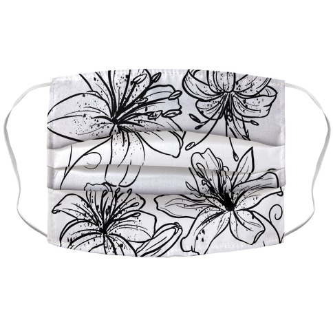 Black and White Tiger Lillies Pattern on White Face Mask Cover