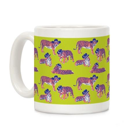 Tigers in Cowboy Hat Neon Pattern Coffee Mug