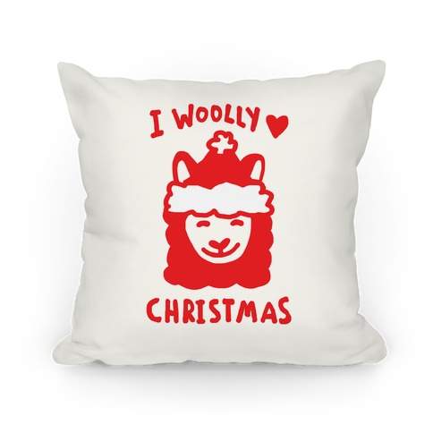 I Woolly Love Christmas Llama Pillow