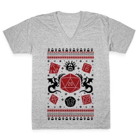 D&D Ugly Sweater V-Neck Tee Shirt