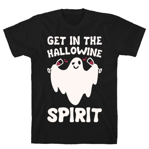 Get in The Hallowine Spirit White Print Mens T-Shirt