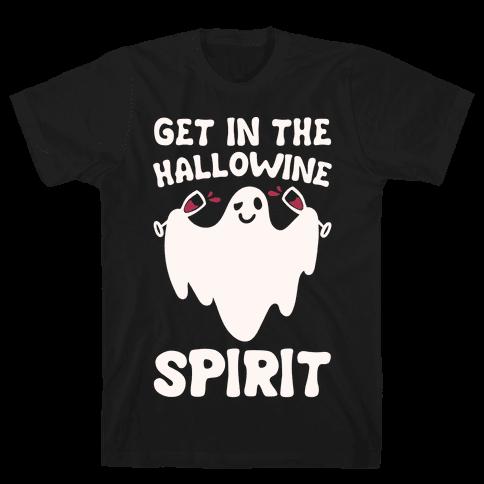 Get in The Hallowine Spirit White Print Mens T-Shirt