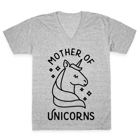 Mother Of Unicorns V-Neck Tee Shirt
