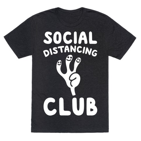 Social Distancing Club White Print T-Shirt