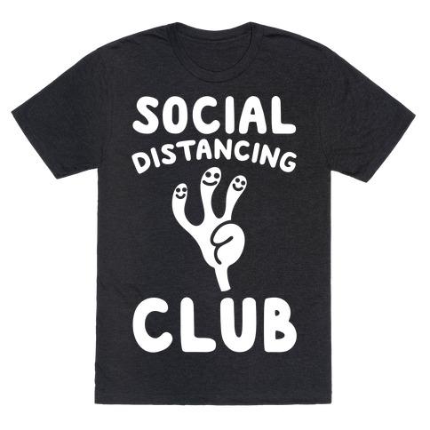 Social Distancing Club White Print T-Shirt