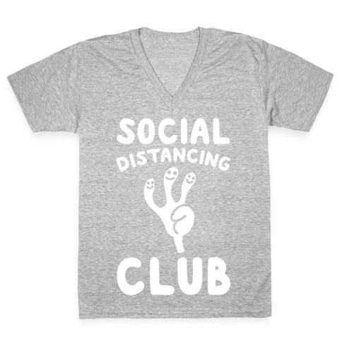 Social Distancing Club White Print V-Neck Tee Shirt