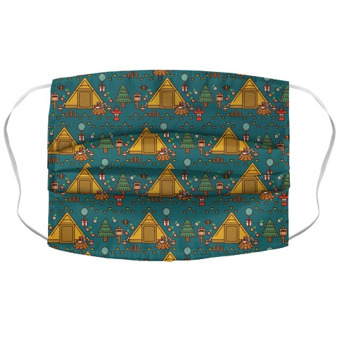Yellow Tent Glamping Pattern Teal Accordion Face Mask